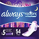 Always Radiant Feminine Pads for Women, Size 5, 54 Count, Extra Heavy Overnight, with Wings, Scented (18 Count, Pack of…