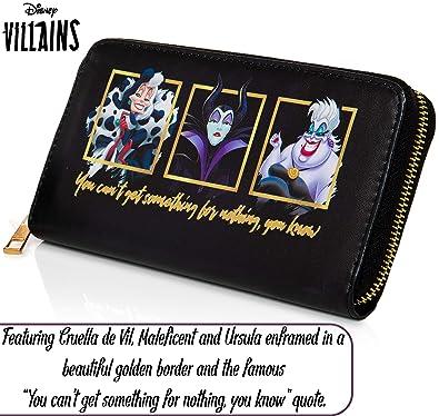 Disney Cartera Largo Mujer | Monederos Mujer | Cartera de Mujer Con Maléfica, Ursula y Cruella De Vil | Colecciones Exclusivas De Los Villanos, ...
