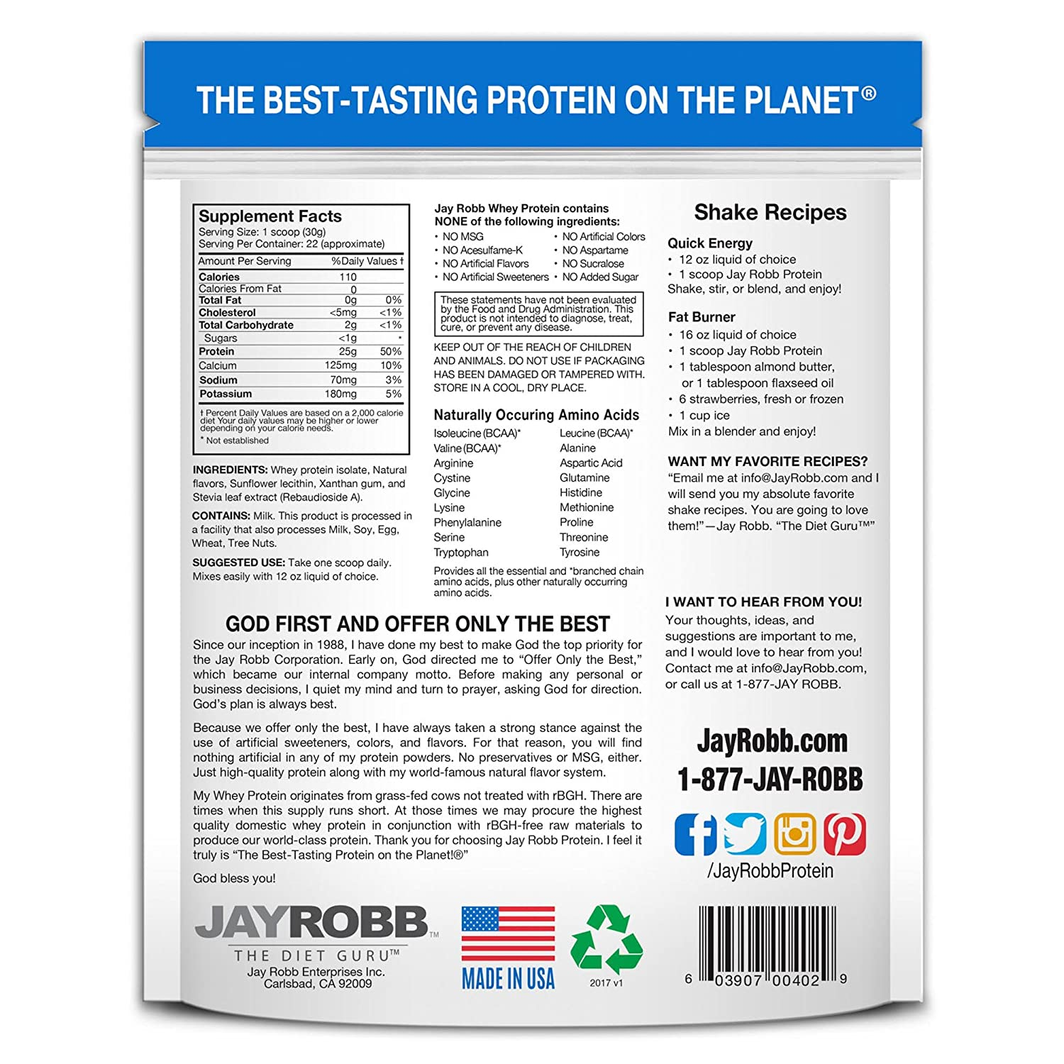 Amazon.com: Jay Robb - Grass-Fed Whey Protein Isolate Powder, Outrageously Delicious, Vanilla, 23 Servings (24 oz): Health & Personal Care