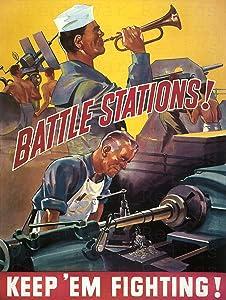 UpCrafts Studio Design WWII American Propaganda Poster - Size 11.7 x 16.5 - Battle Stations! Keep 'EM Fighting! - World War 2 Military Art Prints Replica - WWII Militaria Wall Art Decor for Home