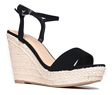 51341874b629 Delicious Ankle Strap Platform Wedge Sandal – Casual Open Toe High Heel Shoe  Black
