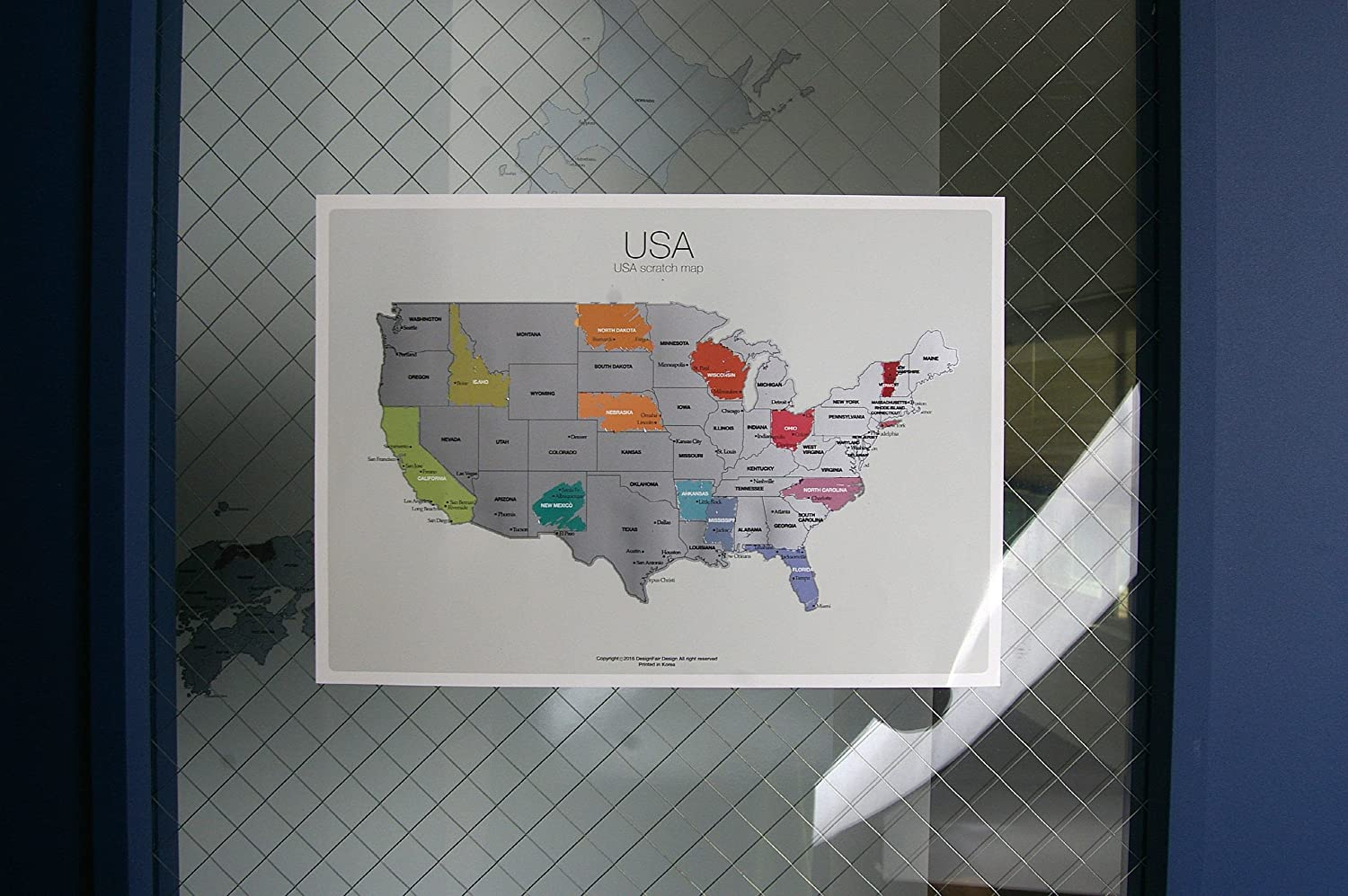 Scratchoff Us Map Mainland The United States Of America A X - Us travel map poster