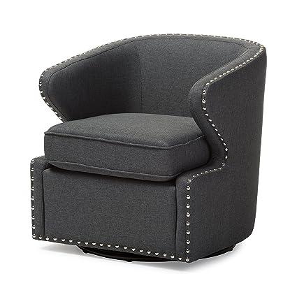 Baxton Studio Finley Mid Century Modern Fabric Upholstered Swivel Armchair,  Grey