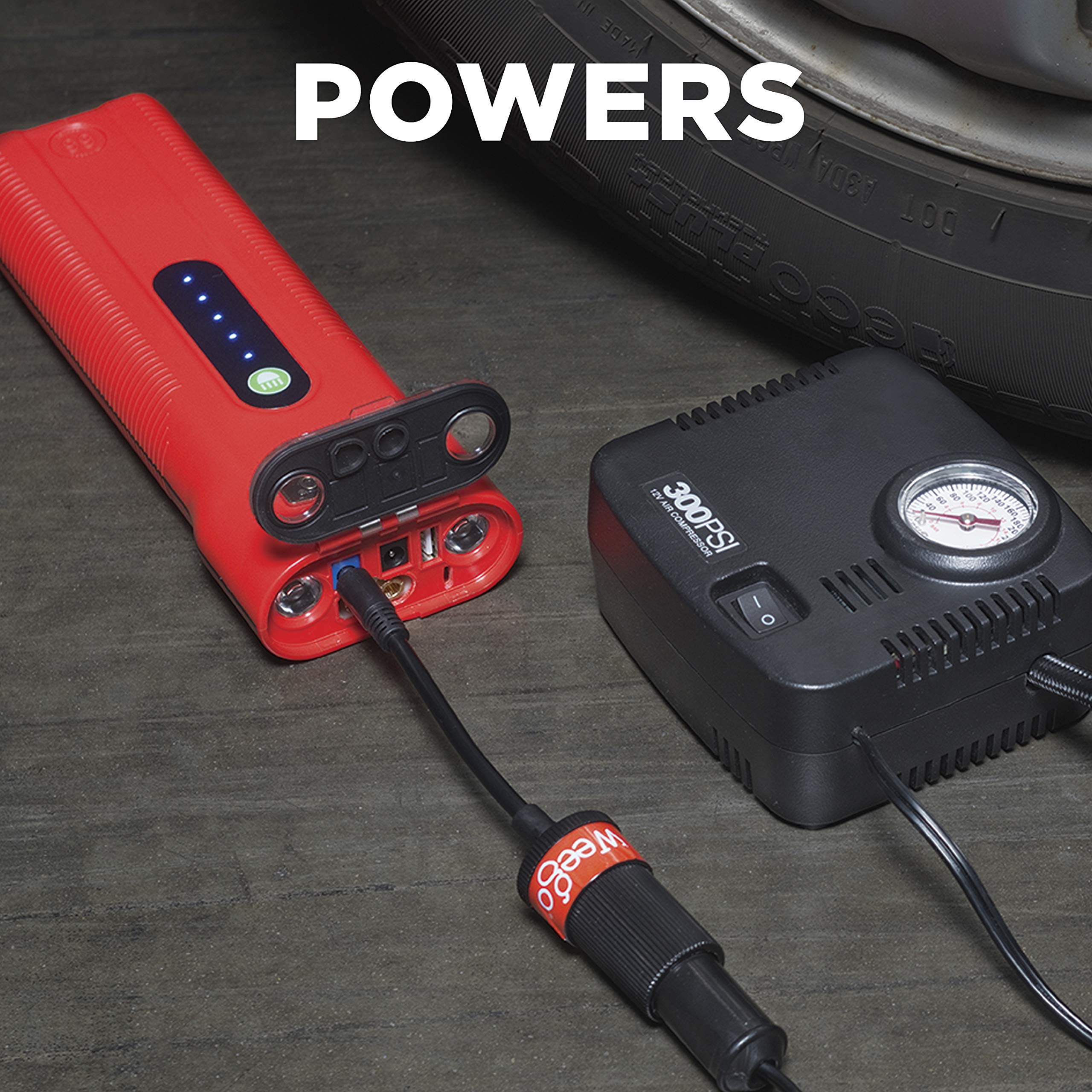 Weego 66.1 Jump Starting Power Pack MEGA BUNDLE includes Weego 66.1 High Performance Lithium Ion Jump Starter (New 2019 Model) plus Weego 12V DC Adapter, Weego SAE Adapter and Weego OBDII Memory Saver by Weego (Image #4)