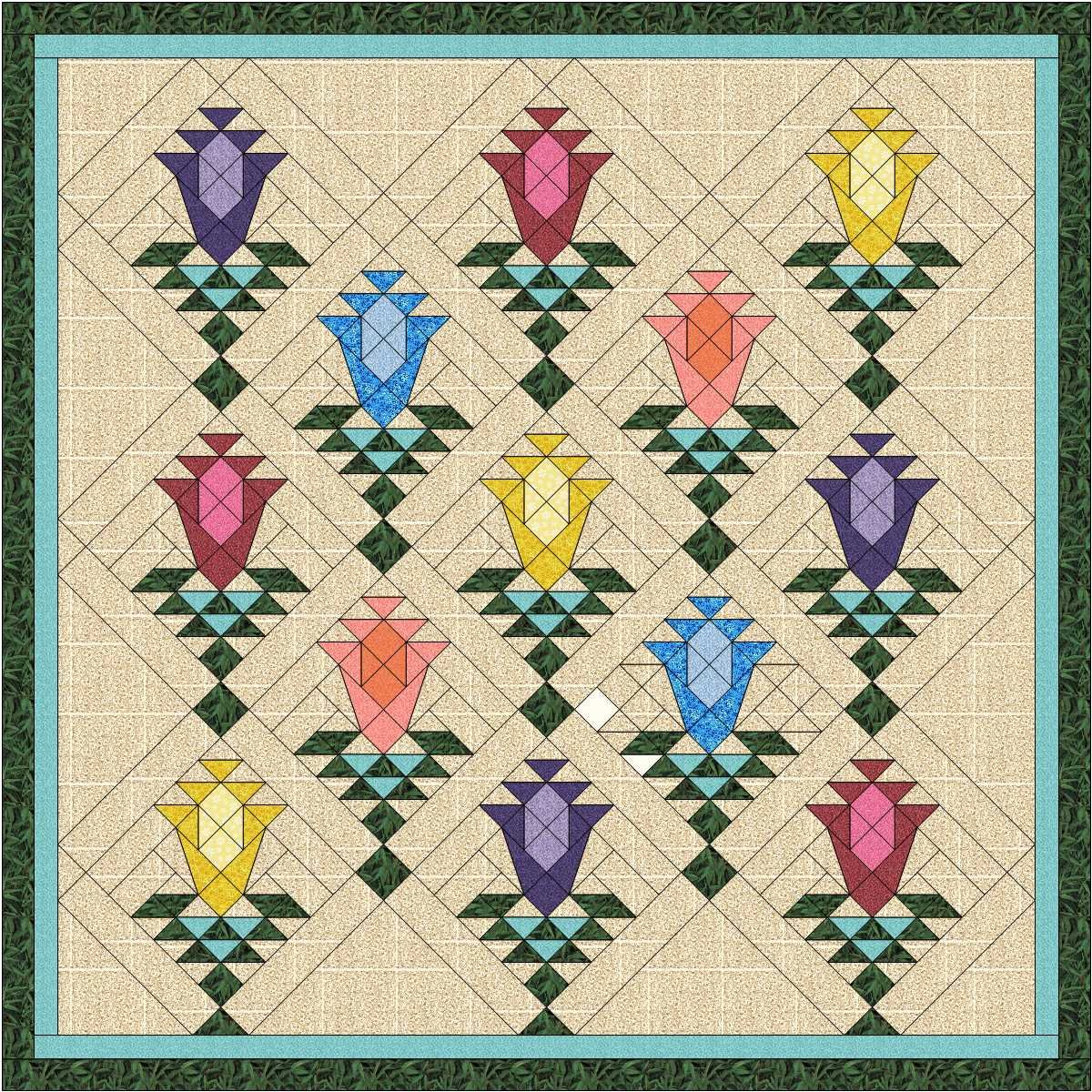 Quilt Kit Lily Blossom Trellis/Pre Cut Ready To Sew