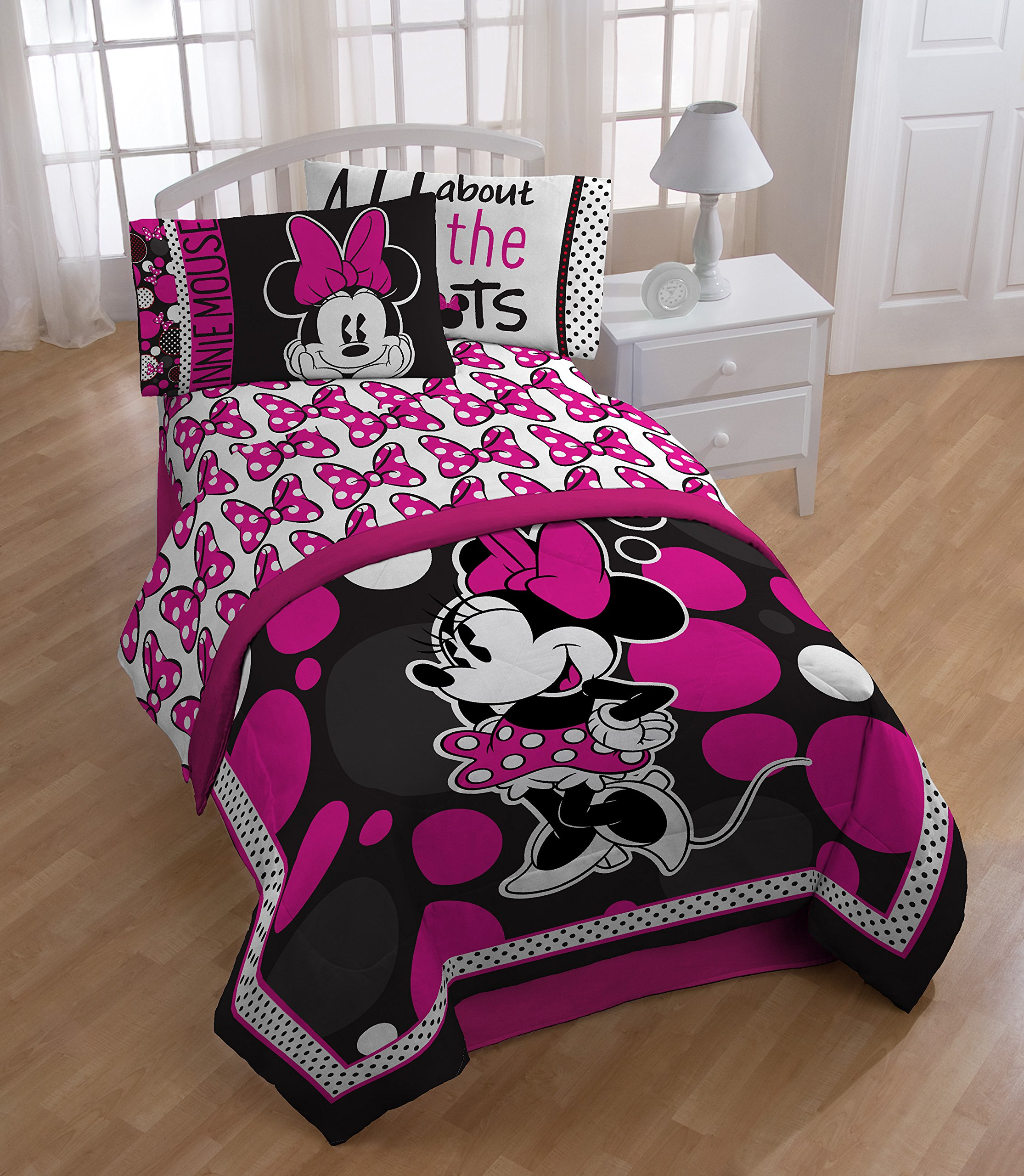 Disney Minnie Mouse Rock The Dots Microfiber Full 4 Piece Sheet Set