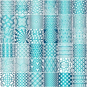 Tinlade 36 Pieces Geometric Stencils Painting Templates Art Drawing Stencil Templates for Scrapbooking Cookie Tile Furniture Wall Floor Decor Craft Drawing Tracing DIY Art Supplies, 5 x 5 Inch