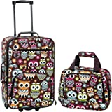Rockland 2 Pc Luggage Set, Owl (Multi) - F102