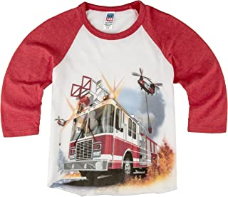 product image for Shirts That Go Little Boys' Fire Truck & Helicopters Raglan T-Shirt