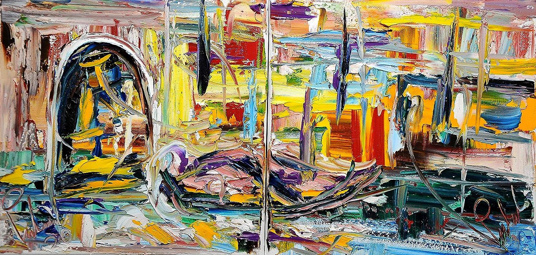 Canale di venezia con barca olio su tela 30x60 2 pezzi Pintura al óleo sobre lienzo de alta calidad, moderna y pintada a mano.