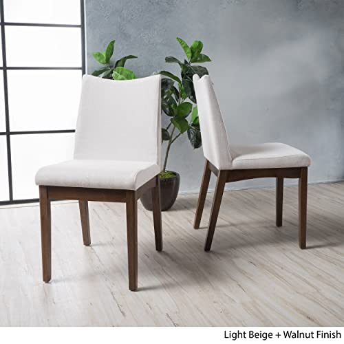 Christopher Knight Home Gertrude Fabric Mid Century Modern Dining Chairs Set of 2 , Light Beige Walnut Finish