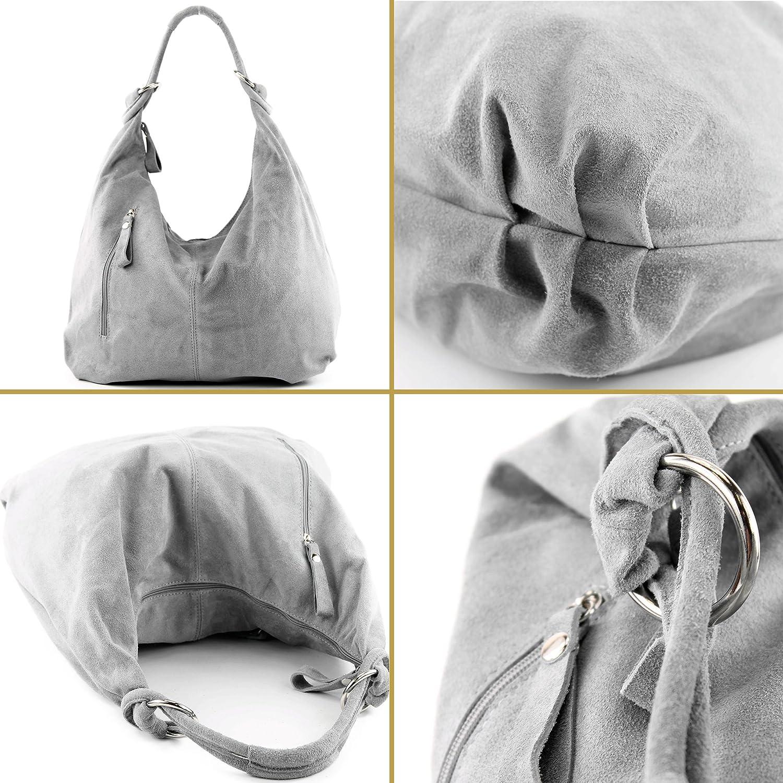 modamoda de - ital. Läderväska hobo väska läderväska vild läder stor T158 Blåbrun