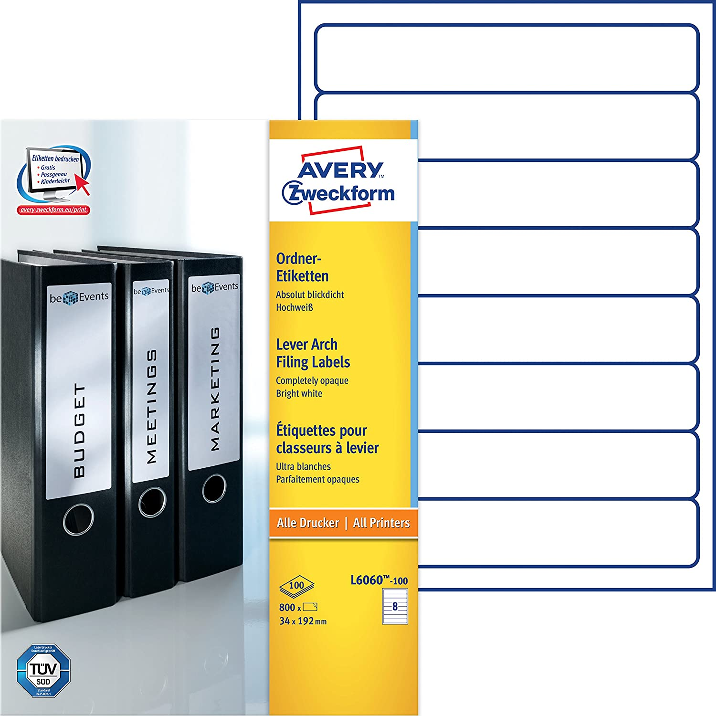 Avery Border Binder Labels, White 192 x 34mm (100) Avery Tico Srl L6060-100