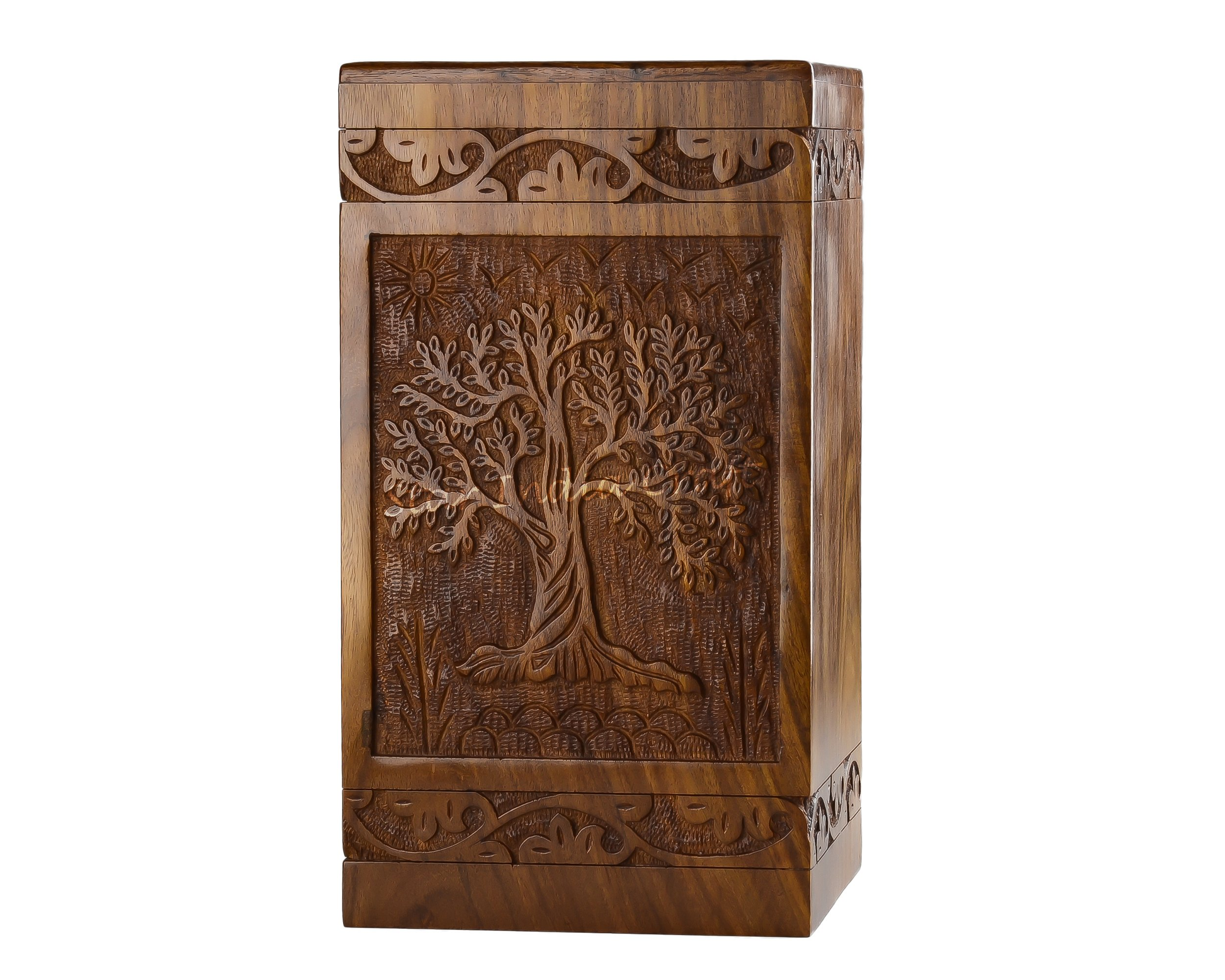 STAR INDIA CRAFT Beautifully Handmade & Handcrafted Tree of Life Engraving Wooden Urns for Human Ashes Adult, Large Wooden Cremation Urns for Ashes Engraving, Wooden Box, Funeral Urn Box- 250 Cu/In