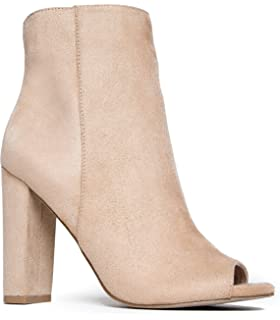 Women's Peep Toe Block Heel Ankle High Zipped Bootie Boots Shoes