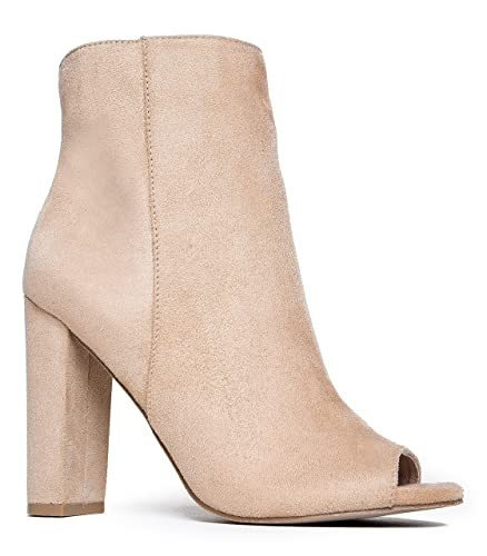 Peep Toe Ankle Bootie – Classic Sleek High Heel Boot – Essential Zip Up Chunky Heel Shoe