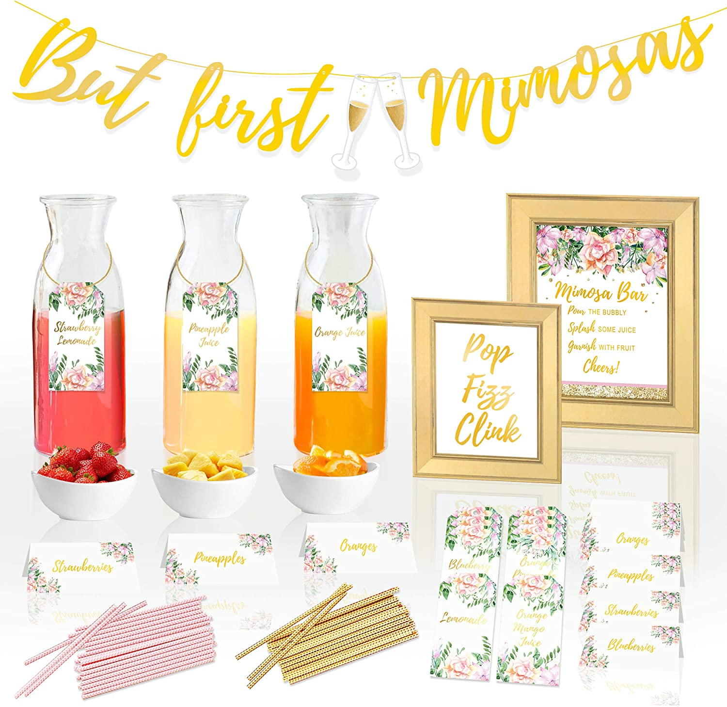 COTIER Reusable Mimosa Bar Supplies Decorations Kit - Mimosa Bar Sign, But First Mimosas Banner - Bridal Shower Decorations, Baby Shower, Brunch Decorations, Bubbly Bar, Engagement, Bachelorette