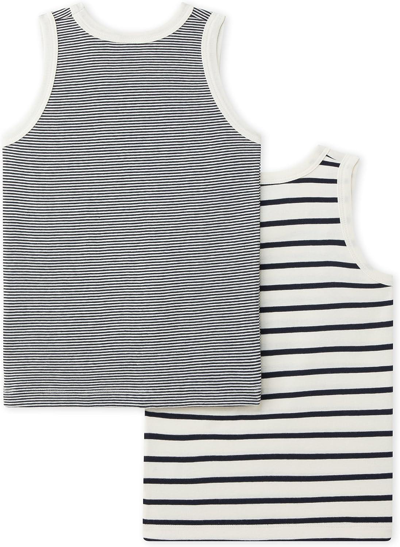 Petit Bateau Set of 2 Boy/'s N//S Striped Undershirts Sizes 2-12 Style 26475