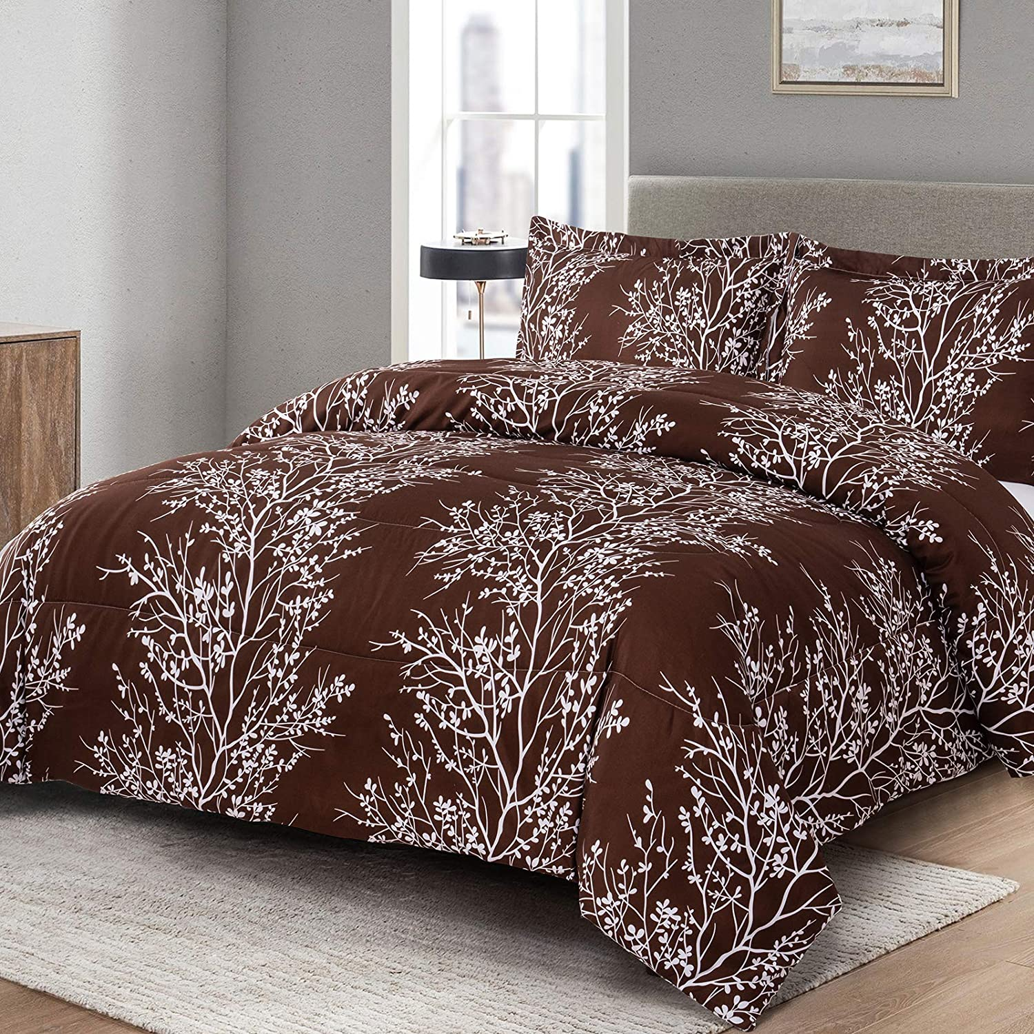 Shatex King Comforter Sets 3 Pieces Bedding Comforter Sets King Set– Ultra Soft 100% Microfiber Polyester – Comforter with 2 Pillow Shams (Branches, King)