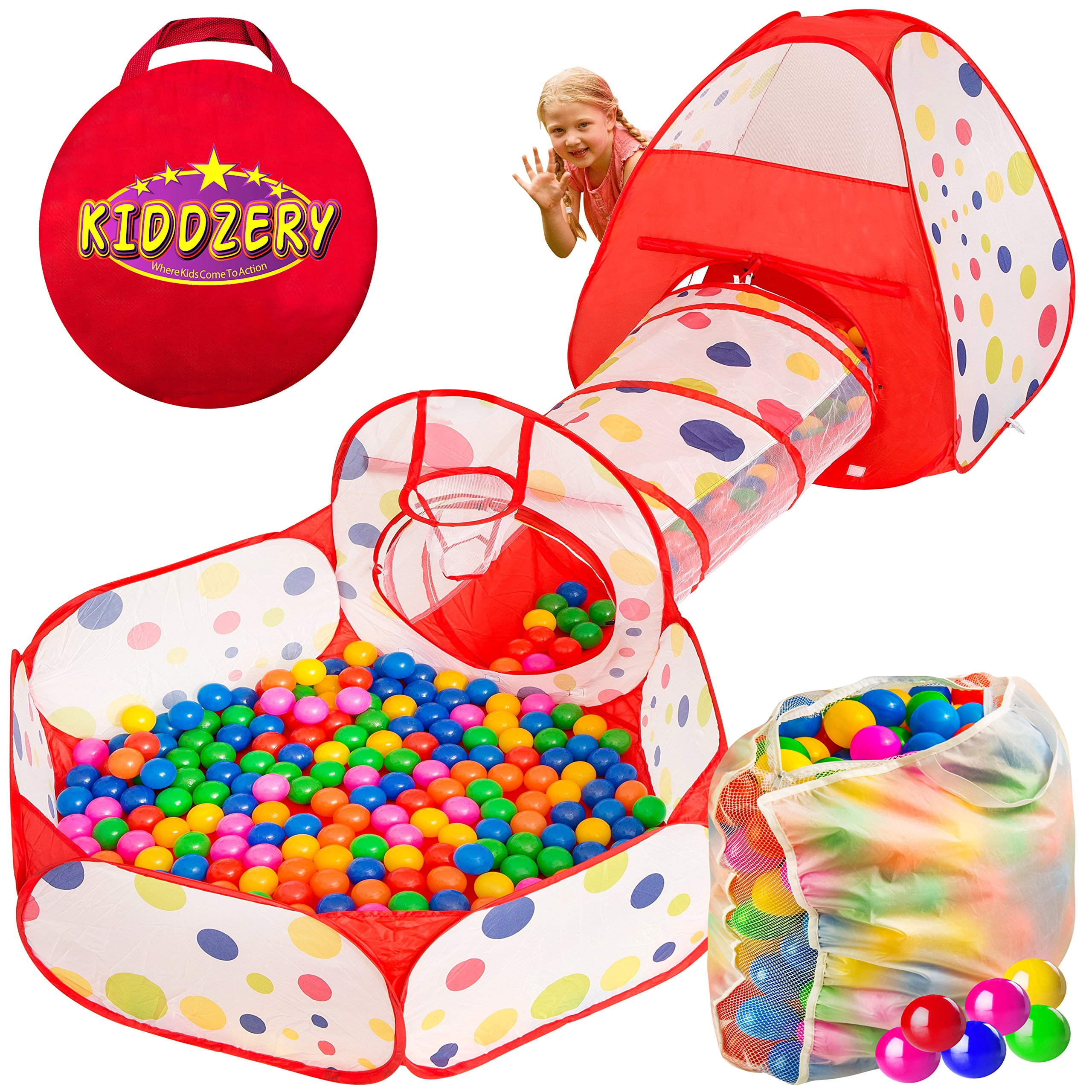 Kiddzery 3pc Ball Pit with Balls, Pop Up Kids Play Tent w/ Crawl Tunnel & Ball Pit, - 200 Crush Proof Balls - Great for Boys & Girls, Toddlers & Babies -W/ Carrying Case for Balls and Ball Pit by kiddzery