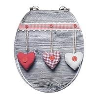 Wenko WC-Sitz Bavarian Hearts, MDF, Mehrfarbig, 43 x 37 x 5 cm