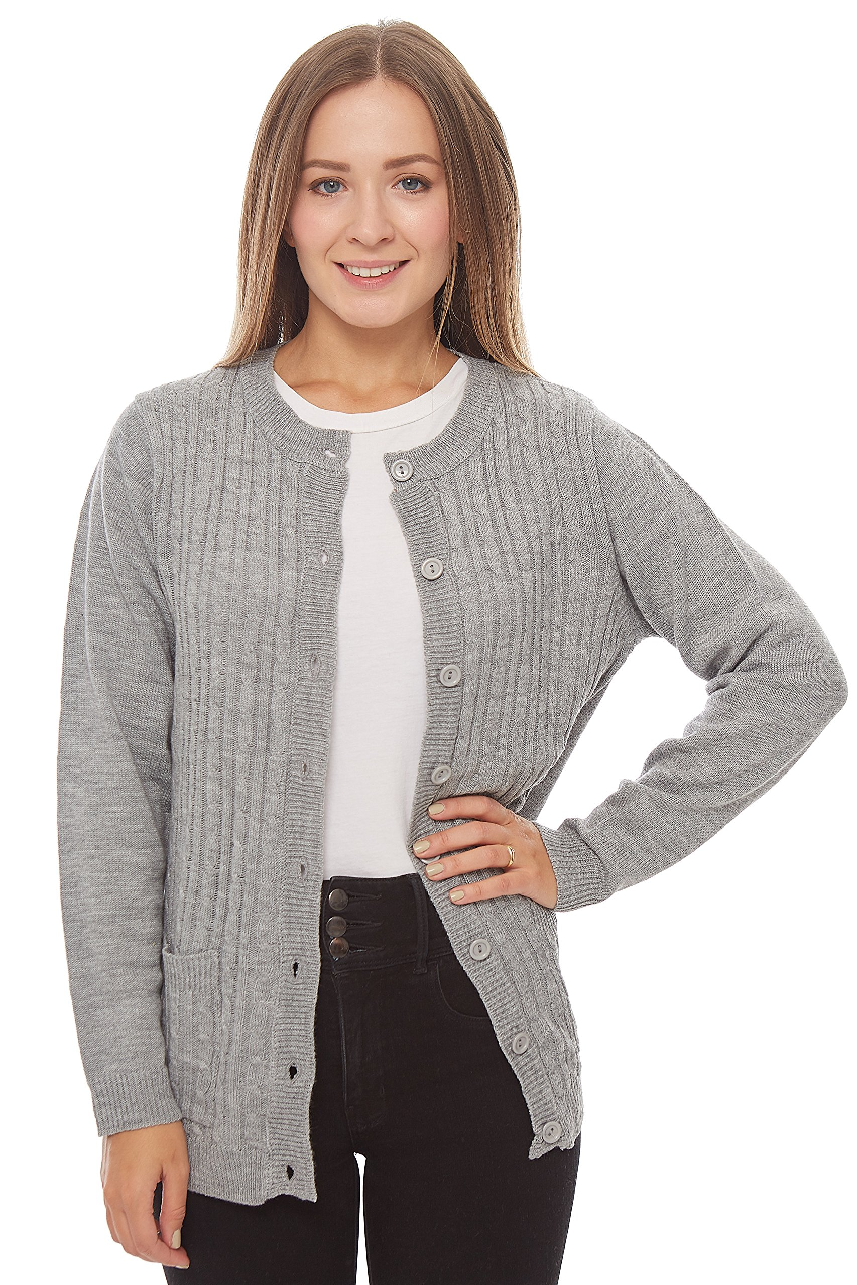 Knit Minded Long Sleeve Two Pocket Cable Knit Cardigan Sweater Heather Grey 1X