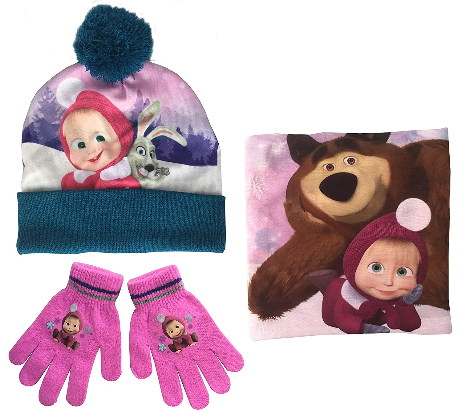 Masha and the Bear Hat, Snood & Gloves Set by Jujak