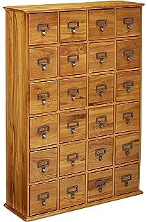 Wonderful Leslie Dame CD 456 Solid Oak Library Card File Media Cabinet, 24 Drawers,