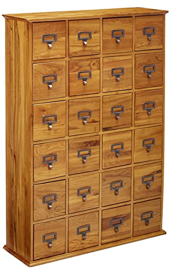 Leslie Dame CD 456 Solid Oak Library Card File Media Cabinet, 24 Drawers,