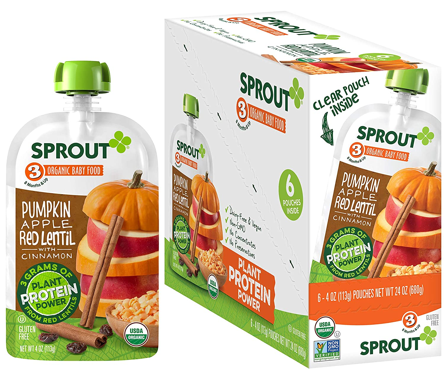 Sprout Organic Stage 3 Baby Food Pouches with Plant Powered Protein, Pumpkin Apple Red Lentil w/ Cinnamon, 4 Ounce (Pack of 6)