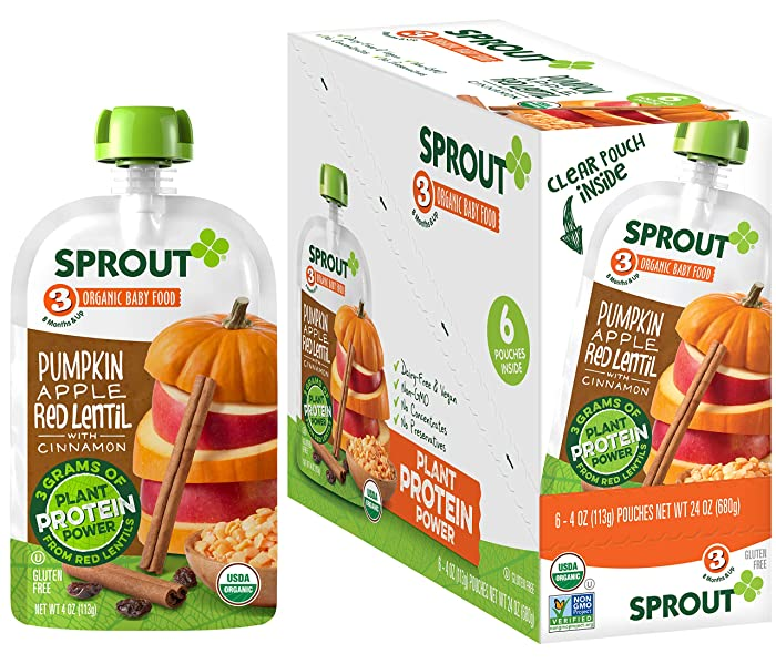 Sprout Organic Stage 3 Baby Food Pouches with Plant Powered Protein, Pumpkin Apple Red Lentil w/ Cinnamon, 4 Ounce (Pack of 12)