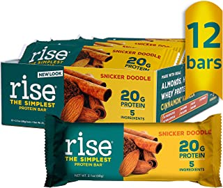 product image for Rise Whey Protein Bar, Snickerdoodle, Healthy Breakfast Snack Bar, 20g Protein Bar 3g Dietary Fiber, 4 Natural Whole Food Ingredients, Simplest Non-GMO, Gluten Free, Soy Free Bar, 12 Pack
