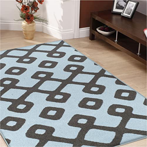 Superior Diamond Pave Collection Area Rug, 6mm Pile Height with Jute Backing, Affordable and Contemporary Rugs, Modern Geometric Lattice Pattern – 8 x 10 Rug, Blue and Grey