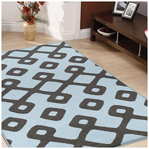 Superior Diamond Pave Collection Area Rug, 6mm Pile Height with Jute Backing, Affordable and Contemporary Rugs, Modern Geometric Lattice Pattern – 5 x 8 Rug, Blue and Grey
