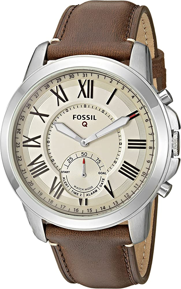 Amazon.com: Fossil Q Mens Grant Stainless Steel and Leather ...