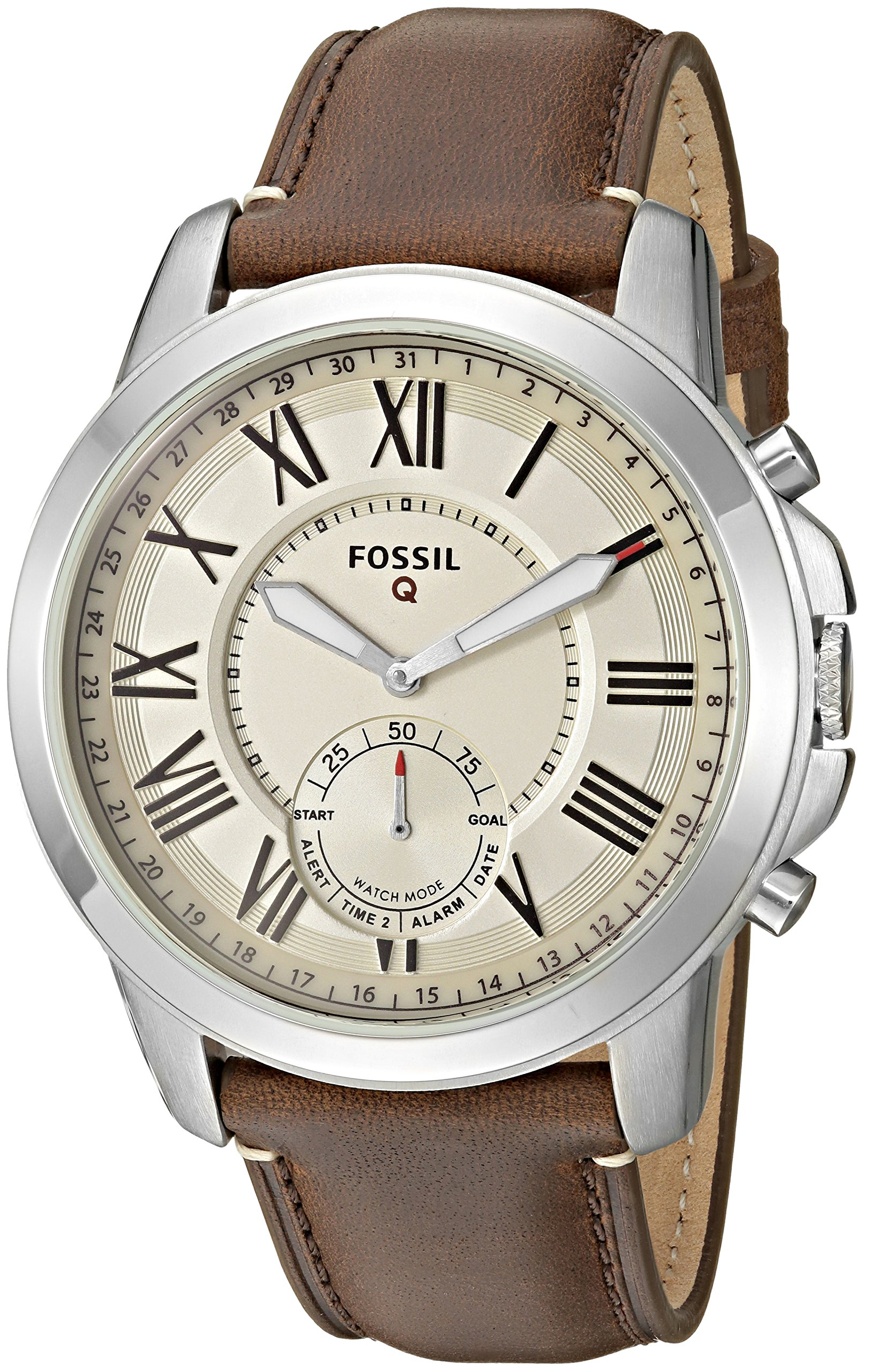 Fossil Q Men's Grant Stainless Steel and Leather Hybrid Smartwatch, Color: Silver-Tone, Brown (Model: FTW1118) by Fossil