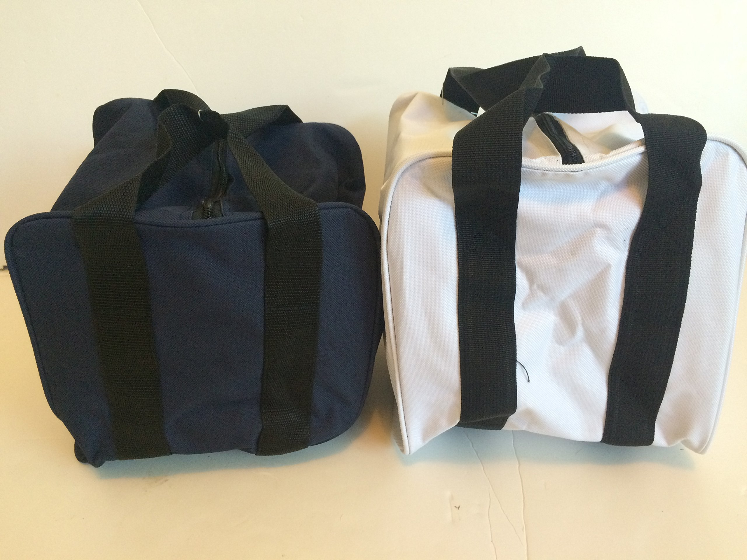 Unique Package - Pack of 2 Extra Heavy Duty Nylon Bocce Bags - Blue with Black Handles and White with Black Handles