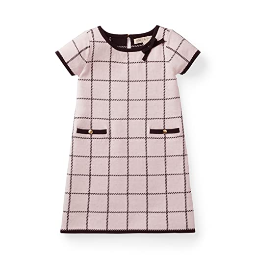 Hope & Henry Girls' Pink Plaid Knit Sweater Jacquard Dress Made with Organic Cotton