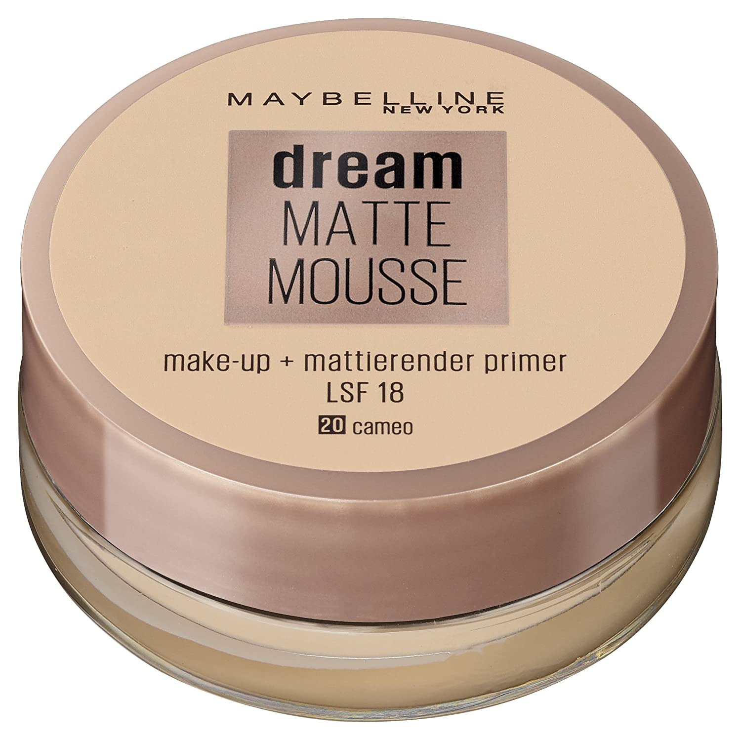 Maybelline Dream Matte Mousse Make-up Nr. 16 Vanilla, mattierendes Make-up mit luftgeschlagener Mousse-Textur, für ein luftig-leichtes Tragegefühl und wunderbar zarte Haut, 18 ml Maybelline New York B2417112