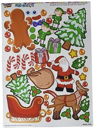 Christmas Mash Up Holiday Santa Reindeer Elves Gingerbread Man Tree Presents Mag Neato S Tm Novelty Gift Locker Refrigerator Locker Vinyl Magnet