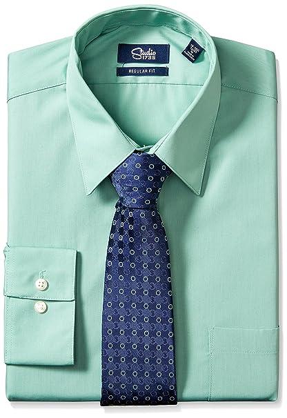 Studio 1735 Mens Standard Mens Dress Shirt And Tie Combo Dot Tie Reg