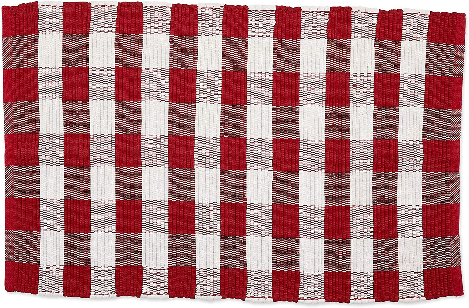 DII CAMZ11258 Indoor Handloomed Cotton Woven Reversible Buffalo Check Area Rug for Bedroom, Living Room, Kitchen, 26x40, Red & White