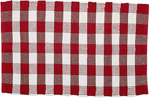 DII CAMZ11258 Indoor Handloomed Cotton Woven Reversible Buffalo Check Area Rug for Bedroom, Living Room, Kitchen, 26×40, Red White