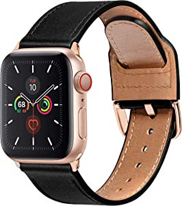 MARGE PLUS Compatible with Apple Watch Band 40mm 38mm 44mm 42mm, Genuine Leather Strap Replacement for iWatch SE Series 6 5 4 3 2 1, (Black/Rose Gold)