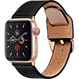 MARGE PLUS Compatible with Apple Watch Band 40mm 38mm 44mm 42mm, Genuine Leather Strap Replacement for iWatch SE Series 6 5 4