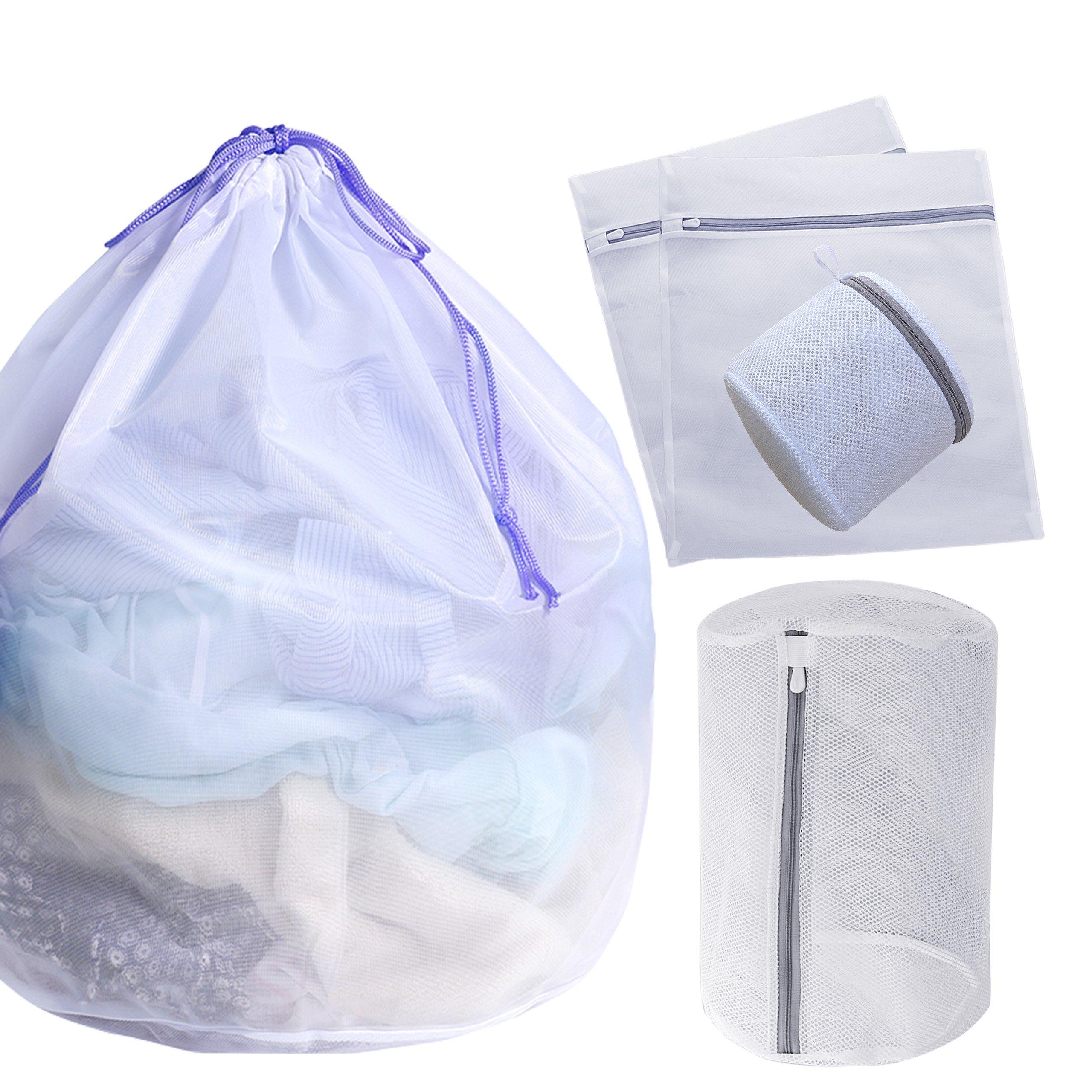 Set of 5 Mesh Laundry Bags-1 Jumbo, 2 Large, 1 Medium and 1 Mini Laundry Wash Bags for Coat, Jackets, Sweaters, Undies, Bras, Children Socks,Blouse, Hosiery, Lingerie (Jumbo Size Fine Mesh)