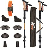 100% Carbon Fiber Trekking Poles by SkyRange: Ultralight, Strong, Telescopic Black Walking Sticks with Cork Handles plus Free Bag