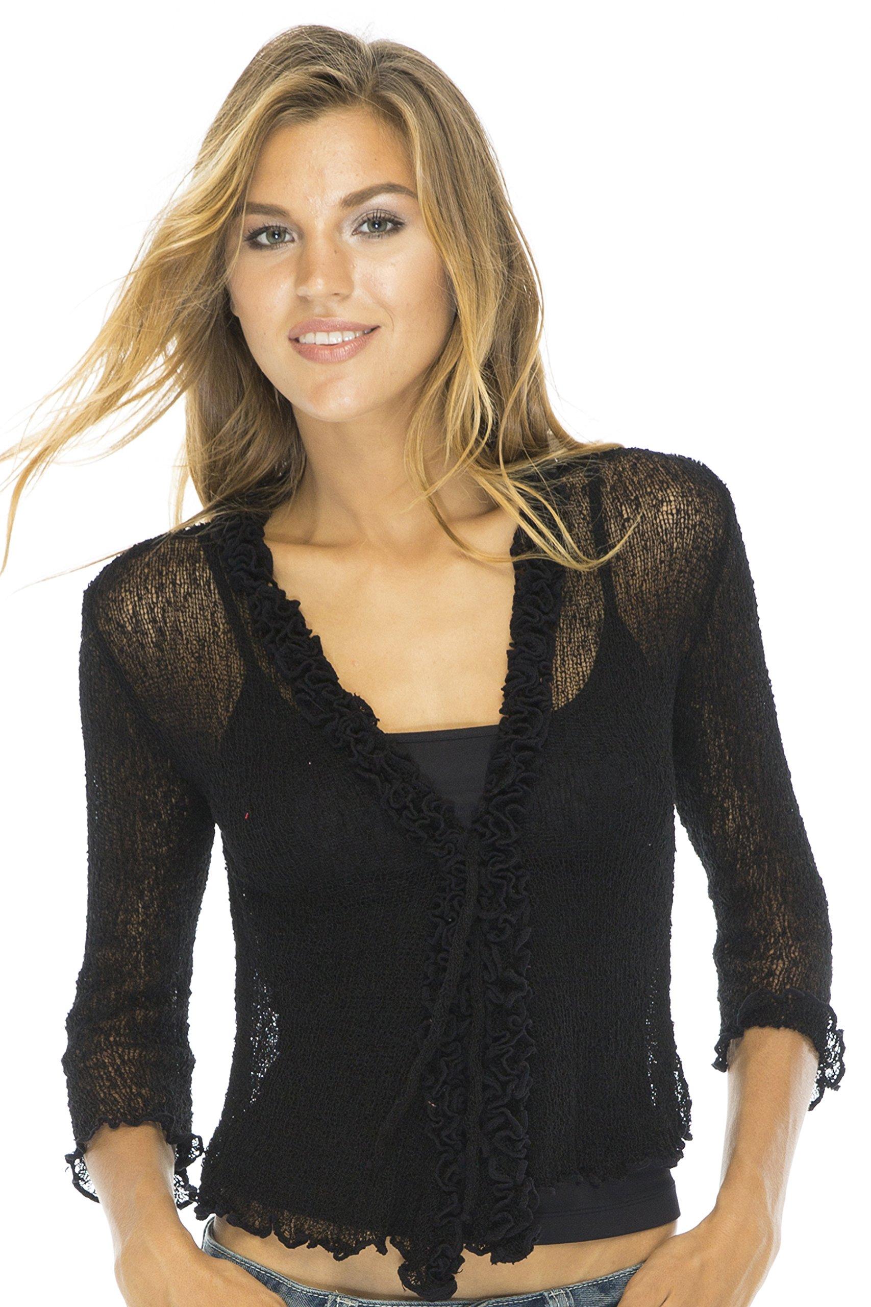 Back From Bali Womens Sheer Shrug Cardigan Sweater Ruffle Lightweight Knit  Black One Size