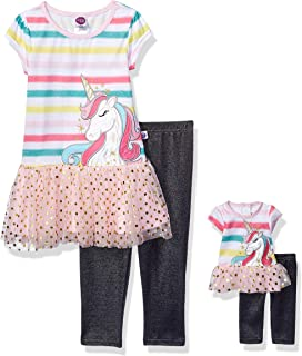 8869fd96b204 Dollie & Me Girls' Unicorn Top & Leggings with Matching 18 Inch Doll Outfit  Set