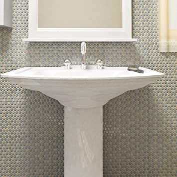 Amazon Com 12x12 625 Inch Cookies And Cream Porcelain Mosaic Floor Wall Tile 10 Tiles 10 74 Sqft And Grey Round Matte Home Kitchen